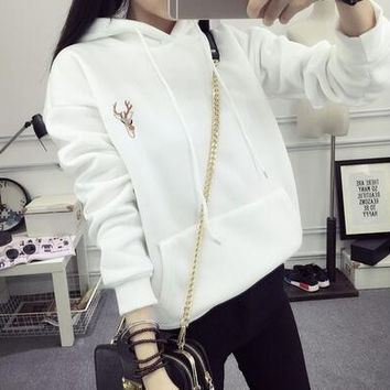 Women Spring Deer Embroidery Cashmere Thick Pullover Top Big Pockets Hooded Sweatshirt Hoodie Plus Size Sudadera White