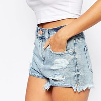 ASOS Denim High Waist Shorts With Side Split In Light Blue Wash