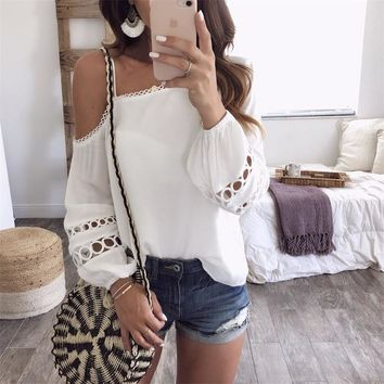 GUMPRUN Summer Women Sexy Skew Collar Hollow Chiffon Blouse Off Shoulder Lace Long Sleeve White Shirt Blouses Casual Tops