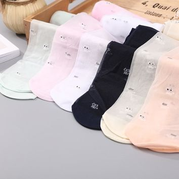 Summer Lace Kids Girls Silk Stockings Cute Cat Printed Candy Color for Baby Children Beautiful Silk Pantyhose Stocking Tights