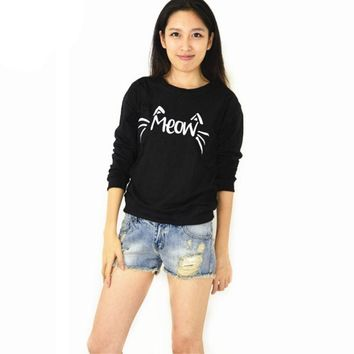 Cat Meow Sweat Shirts - Ladies Crew Neck Novelty Pullover