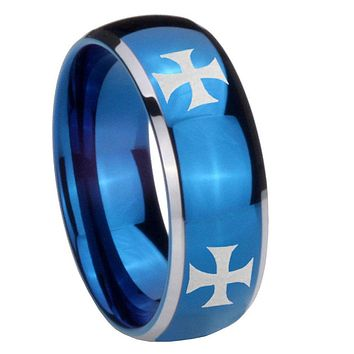8mm 4 Maltese Cross Dome Blue 2 Tone Tungsten Carbide Promise Ring