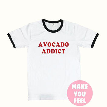 Avocado Shirt, Ringer tee - T-Shirt Tumblr Clothing Graphic Tees for Women shirts with sayings Tshirt Ladies style Size S-XL