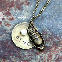Vintage Microphone Sing Music Necklace
