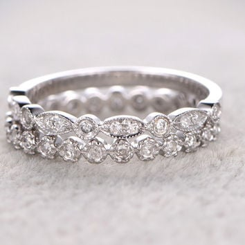 2pcs full Eternity Wedding Ring,Diamond ring,Solid 14K White gold,Anniversary Ring,bezel set,stacking,milgrain,Matching band