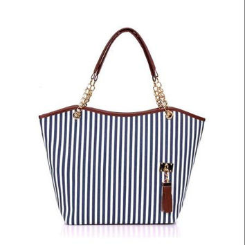 Women Vertical Stripes Faux Leather Panel Tassels Decor Tote Blue White hand bag