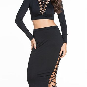 Streetstyle  Casual Deep V-Neck Lace-Up Hollow Out Plain Crop Top And Pencil Skirt