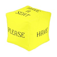 Have A Seat Please Yellow Cube Pouf by Janz