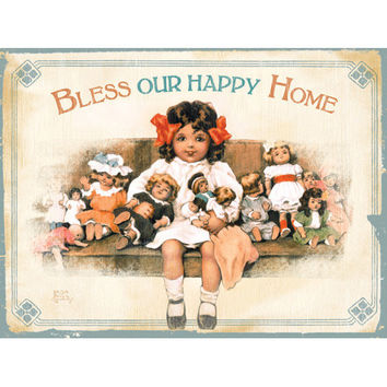 Personalized Bless Our Happy Home Wood Sign