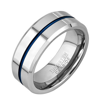 8mm Thin Blue Line Plated Tungsten Carbide Ring Wedding Band