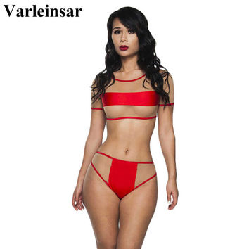 2017 red sheer mesh splicing bikini high waist swimsuit two pieces bikini set female swimwear women bathing suit swim wear V158