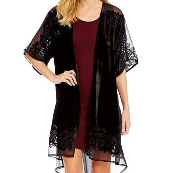 Jessica Simpson Sigourney Velvet High-Low Draped Open Duster | Dillards