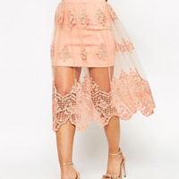 ASOS PETITE Prom Skirt in Embroided Lace Mesh at asos.com