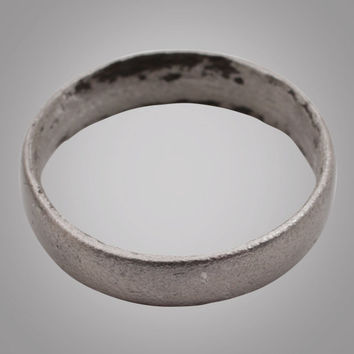 French Country Wedding Band, Solid Silver Viking Age Ring, C.866-1067A.D. Size 9 3/4  (19.4mm)(Brr883)