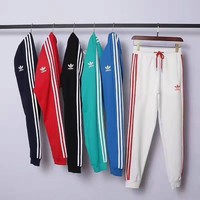 ADIDAS Stripe Print Stretch Leggings Sweatpants Exercise Fitness Sport Pants Trousers G-YF-MLBKS