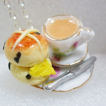 Tea And Hot Cross Bun Pendant. Polymer clay.
