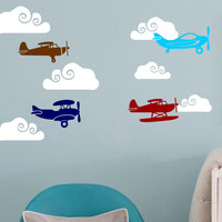 Airplane Decal-Airplane Clouds -8 Airplanes-6 Clouds-Vinyl Wall Decal Boys Decor