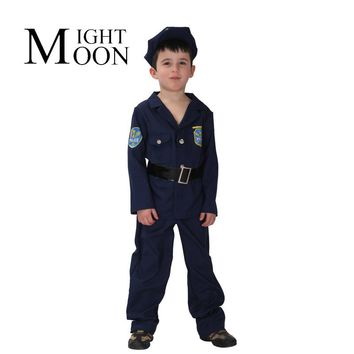 MOONIGHT Kids Police Officer Uniform Boys Book Week Fancy Dress Costume Party Outfit Halloween Costume