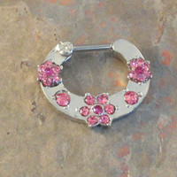 16 Gauge Pink Flower Gems Septum Ring Clicker Daith Ring Nose Piercing