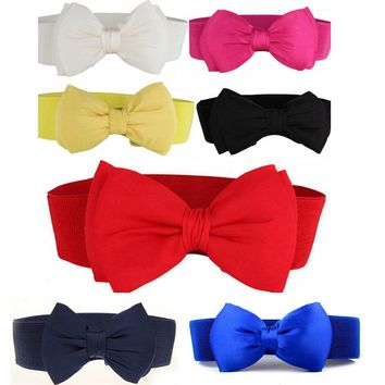Women Bowknot Buckle Waistband Waist Belt Elastic Bow Wide Stretch US STOCK