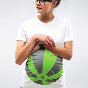 Neon Green Beach Ball Maternity T-Shirt