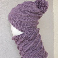 purple hat and cowl winter set handknit cowl pom pom hat