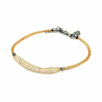 .925 Sterling Silver Gold Plated Clear Cubic Zirconia Italian Bracelet