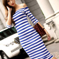 Striped Strapless Half Sleeve Bodycon Midi Dress