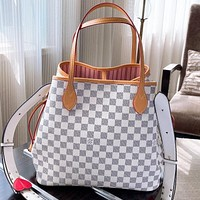 LV Fashion New Tartan Monogram Print Leather Shoulder Bag Crossbody Bag Handbag