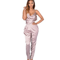 sexy overalls plus size Summer jumpsuit loose sling women rompers poplin off shoulder Solid Color Sleeveless bodycon jumpsuit