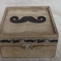 Father's Day Gift Box Beautiful Shabby Chic Vintage Rustic Mustache wedding Ring trinket or memory box Pillow