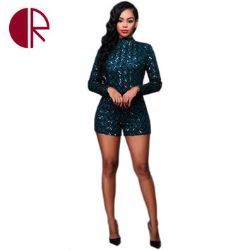 2016 Fall Sequin Playsuit for Women Romper Sexy One Piece Outfits Long Sleeve High Neck Dark Blue Sequined Slim Bodycon Bodysuit
