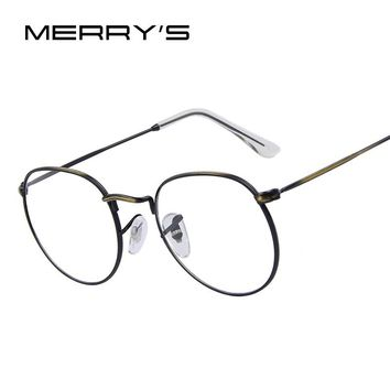 MERRY'S Women Retro Glasses Frames Men Brand Design Eyeglasses Fashion Unisex Optical Glasses Metal Frame