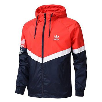 Adidas Contrast Red&Black Fresh Color Coaat Jaket Running Top