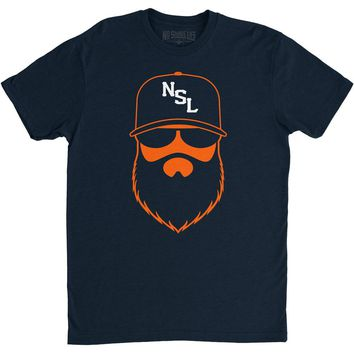 NSL Beard League Men's T-Shirt Navy/Orange/White