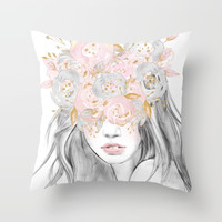 She Wore Flowers in Her Hair Rose Gold by Nature Magick Throw Pillow by naturemagick