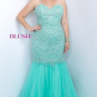 Plus Size Strapless Mermaid Style Prom Dress by Blush