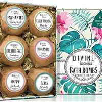 Six Extra Large and Lush Bath Bomb by Divine Botanics - Bath Bombs Kit Includes Bonus Sponge - Use with Bath Body Bath Bubbles and Bath Beads - USA Made Bath Basket - Unique Gift Set For Any Occasion