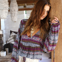 Women's BOHO Tribal Print Purples and Grey  Deep V-Neck Chiffon Blouse with Front Tie