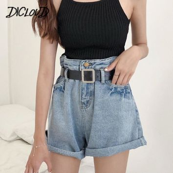 Vintage Curled Wide Leg Shorts Female Loose High Waist Jeans Shorts 2018 Harajuku Blue Casual Summer Denim Short Feminino Gifts
