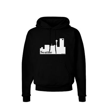 Seattle Skyline with Space Needle Dark Hoodie Sweatshirt by TooLoud