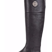 Tory Burch Tumbled Leather Junction Riding Boots