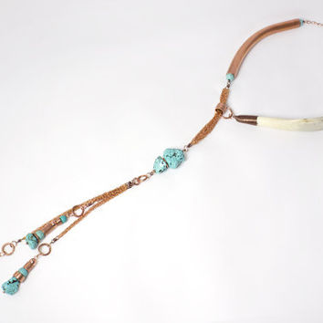 Unique Asymmetrical Antler Tine & Turquoise Statement Lariat Necklace