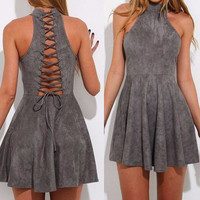 Fashion Back Hollow Crisscross Bandage Sleeveless Ruffle Mini Dress