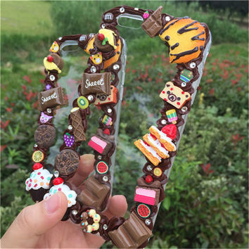 iPhone 6plus Case decoden phonecase cute iPhone 6s  handmade phonecase with Chocolate Cream cookies  sweets icecream accessories kawaii case