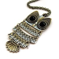 Alloy Metal Acrylic Diamond Owl Pendant Necklace:Amazon:Jewelry