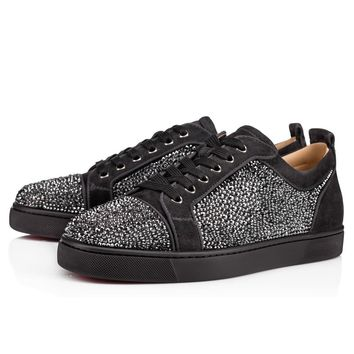 Christian Louboutin Cl Louis Junior Strass Mens Flat Charbon Strass Sneakers