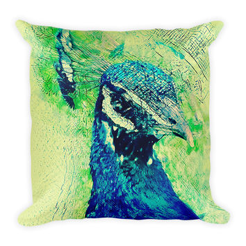 Peacock Decorative Throw Pillow 18x18