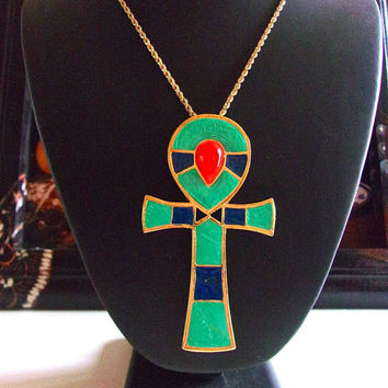 Egyptian Revival HATTIE CARNEGIE Pendant Necklace, Ankh Enamel Brooch, Vintage