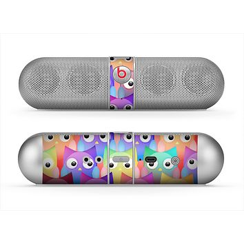 The Multicolored Shy Owls Pattern Skin for the Beats by Dre Pill Bluetooth Speaker